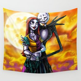 Jack Skellington With Sally Figurine Wall Tapestry