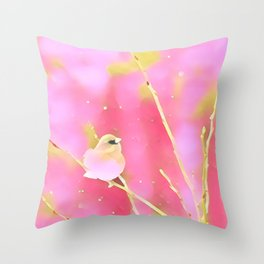 Junco Pink Yellow by CheyAnne Sexton Throw Pillow