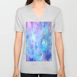 Bright Tarantula Nebula Aqua Lavender Periwinkle Unisex V-Neck