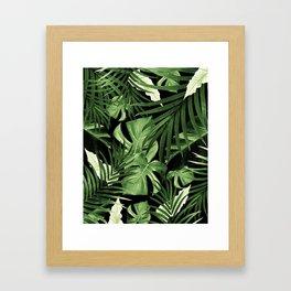 Tropical Jungle Night Leaves Pattern #5 #tropical #decor #art #society6 Framed Art Print