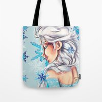 frozen elsa Tote Bags featuring Elsa - Frozen by MissMachineArt