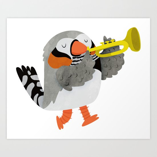 Zebra Finch playing a trumpet Art Print