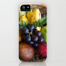 Fruit basket filled with local Indonesian fruits iPhone Case