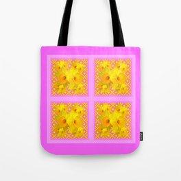 Fuchsia Quatre Panel Daffodil Pattern Tote Bag
