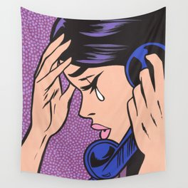 Phone Crying Comic Girl Wall Tapestry