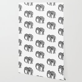 Elephant Flourish in Black Wallpaper