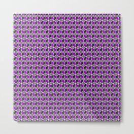 Purple Grey Cube Pattern Metal Print