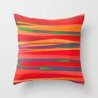 the strokes Throw Pillows featuring Strokes by Rebecca Allen