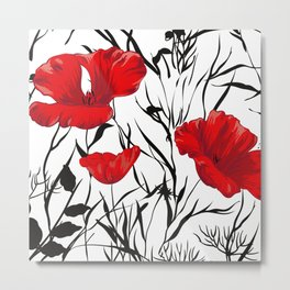 Poppy, Floral Prints, Red, Black and White Art Metal Print