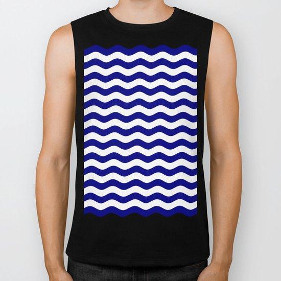 Wavy Stripes (Navy Blue/White) Biker Tank