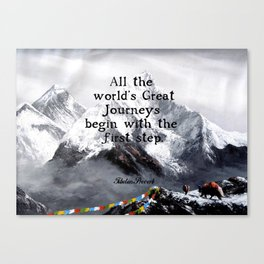 All the world's Great Journeys Motivational Tibetan Proverb With Panoramic View Of Everest Mountain Canvas Print