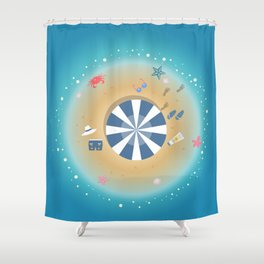Isolated Island of Happiness Shower Curtain