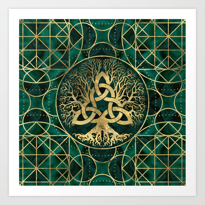Tree of life with Triquetra Malachite and Gold Kunstdrucke