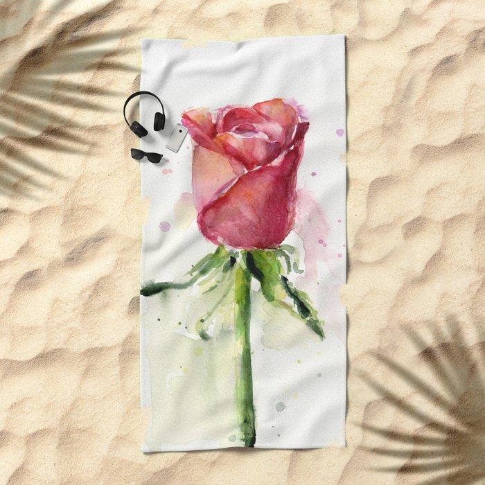 Rose Watercolor Red Flower Painting Floral Flowers Beach Towel