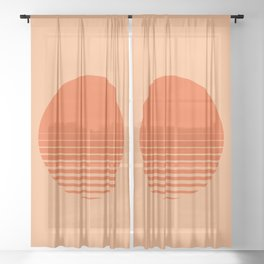 Sunrise/ Sunset Horizon Lines Sheer Curtain