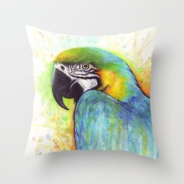 Bird Watercolor Animal Macaw Throw Pillow