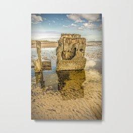 Groynes on Seamill Beach Metal Print