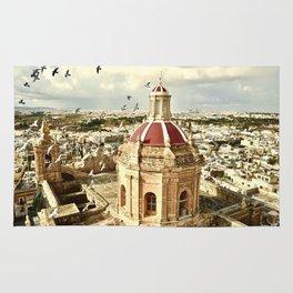 An aerial shot of the Parish Church of Saint Catherine, Zejtun Malta Rug