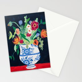 Bouquet of Flowers in Blue and White Urn on Navy Stationery Cards