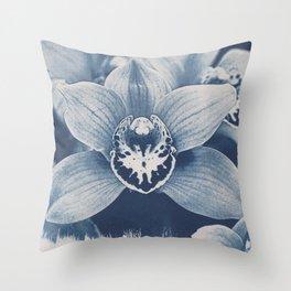 Iris in Blue Throw Pillow