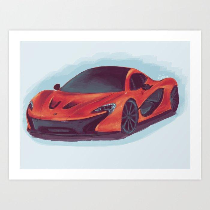 Mclaren P1 Orange >> Mclaren P1 Orange Art Print