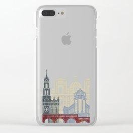 Cuenca EC skyline linear style with rainbow Clear iPhone Case