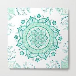 Mandala Menthe à l'eau By Sonia H. Metal Print
