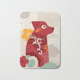 Oriental red dog. Chinese design. Year of the dog Bath Mat