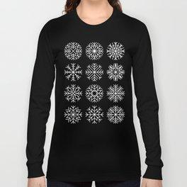 minimalist snow flakes on black Long Sleeve T-shirt