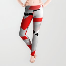 Mass Hysteria Abstract - Red, Black, Gray, White Leggings