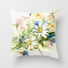 Bouquet of Wildflowers Original Colored Pencil Drawing Throw Pillow
