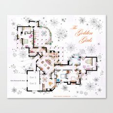 The Golden Girls House floorplan v.1 Canvas Print