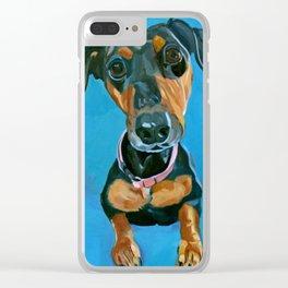 Sassy the Dashchund Dog Portrait Clear iPhone Case