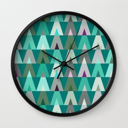 Geometric Triangles | teal turquoise Wall Clock