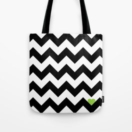Heart & Chevron - Black/Green Tote Bag