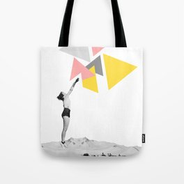 """""""Aiming Higher"""" Woman Collage Art based on Vintage Photos Tote Bag"""