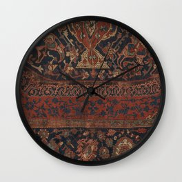 Boho Chic Dark III // 17th Century Colorful Medallion Red Blue Green Brown Ornate Accent Rug Pattern Wall Clock