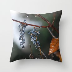 Grapes in a Morning Rain Throw Pillow