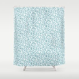 """Turquoise leopard pattern """"Leopold"""" Shower Curtain"""