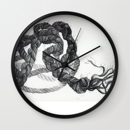 Rope Pen and Ink Drawing Wall Clock