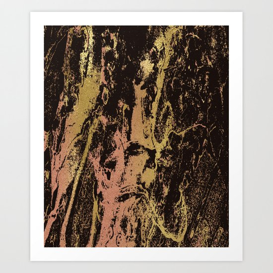Rose gold & gold marbled Art Print