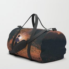 Boy playing with fireworks Duffle Bag