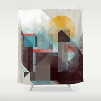 calvin Shower Curtains featuring Over mountains by Efi Tolia