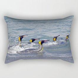 Swimming King Penguins Rectangular Pillow