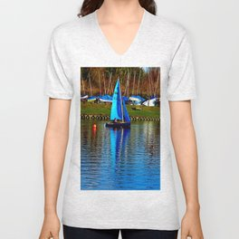 Little Blue Sailboat  Unisex V-Neck