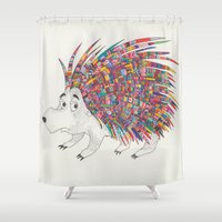 hedgehog Shower Curtains featuring Hedgehog by NataMykha