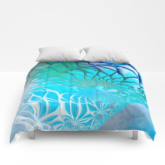 Web of the Universe (cool sea blue-green) Comforters