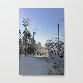 fresh snow over nagano forest road ii Metal Print