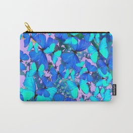 Blue Butterflies Pink Melange Art Carry-All Pouch