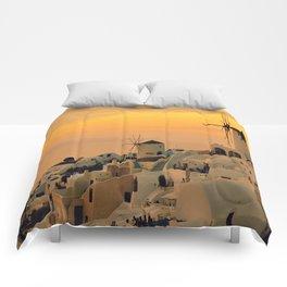 Sunset in Oia, Santorini Comforters